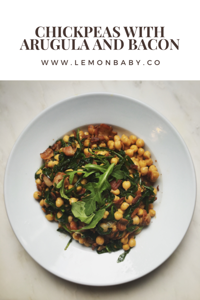 "Your New ""Sidechick"": Chickpeas with Bacon and Arugula"