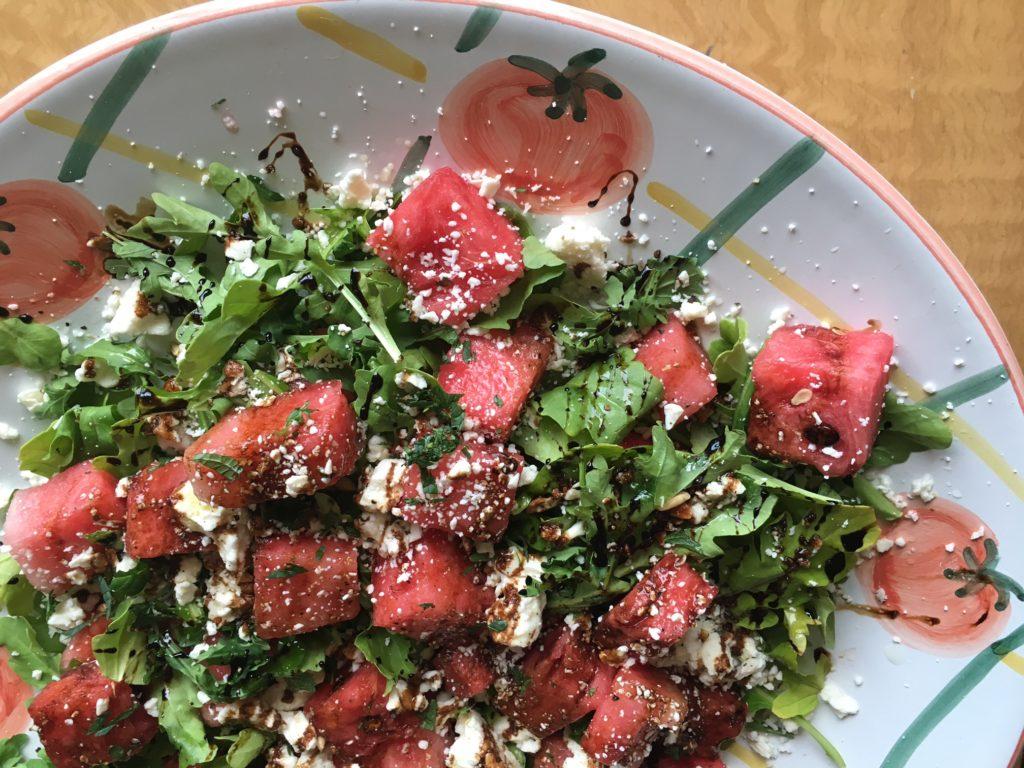 Watermelon Arugula Salad with Balsamic Syrup