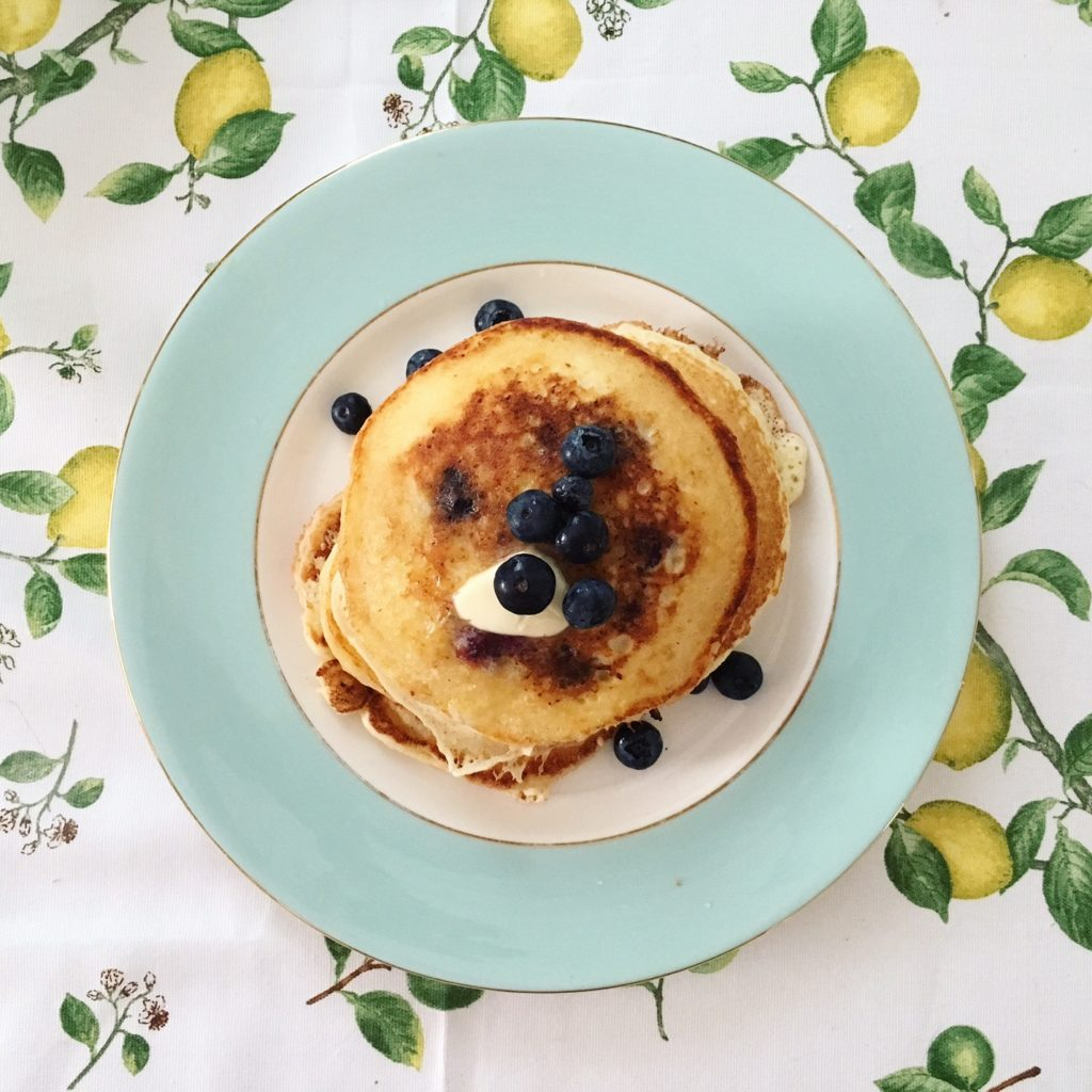 Sunday Family Breakfast: Lemon-Blueberry Ricotta Pancakes with Blueberry Syrup