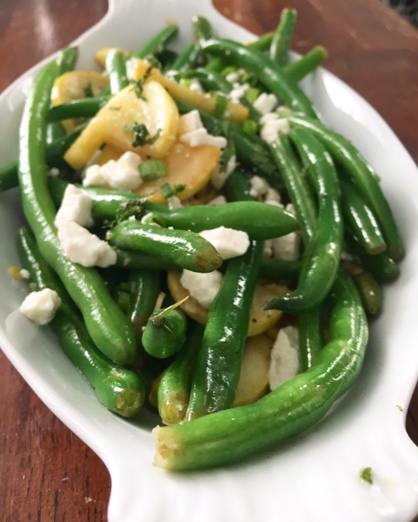 Green Beans and Yellow Squash with Feta and Mint