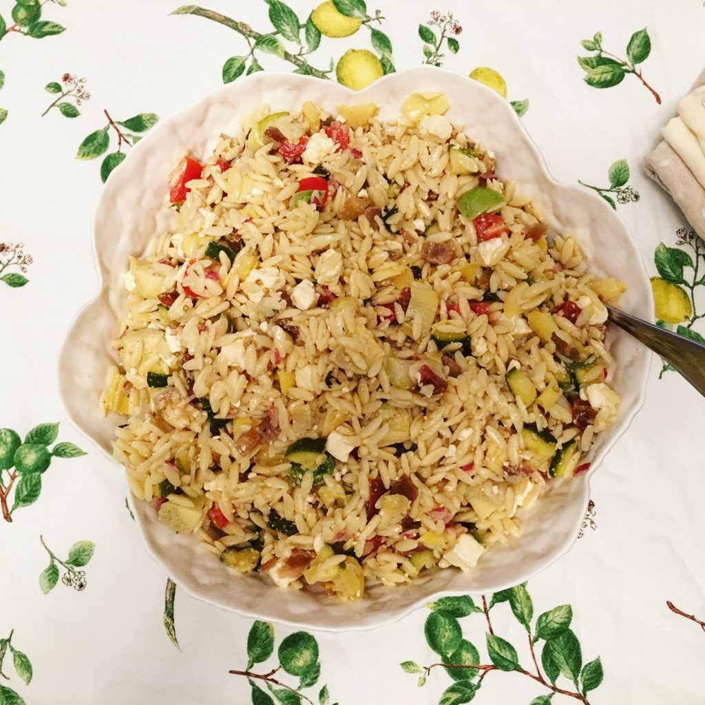 Orzo Salad with Zucchini, Eggplant, and Tomato