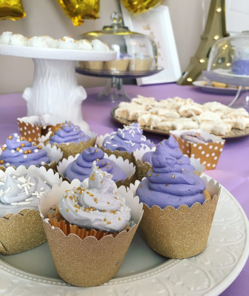 Lavender and Gold Cupcakes