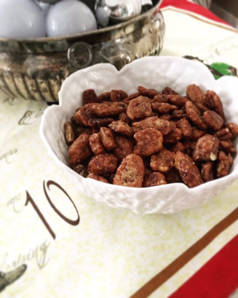 bowl of sweet spicy pecans