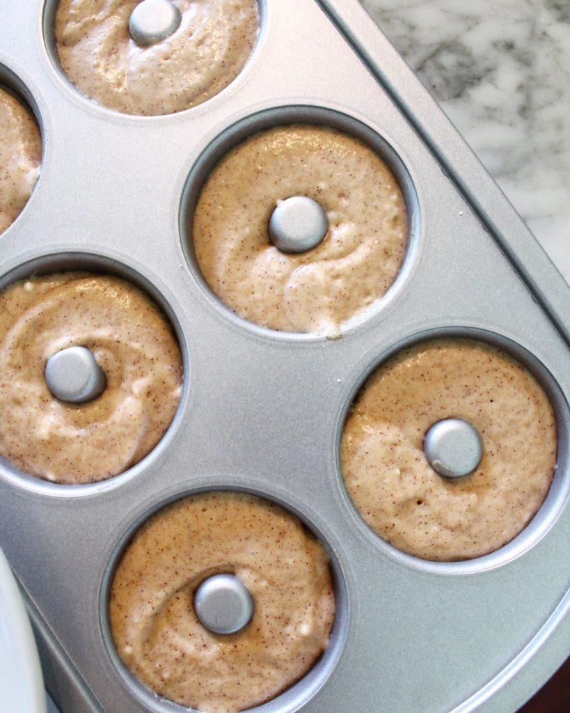 Batter filled doughnut pan