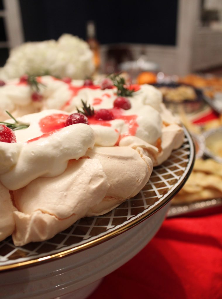 Christmas Pavlova in a Wreath with Cranberries