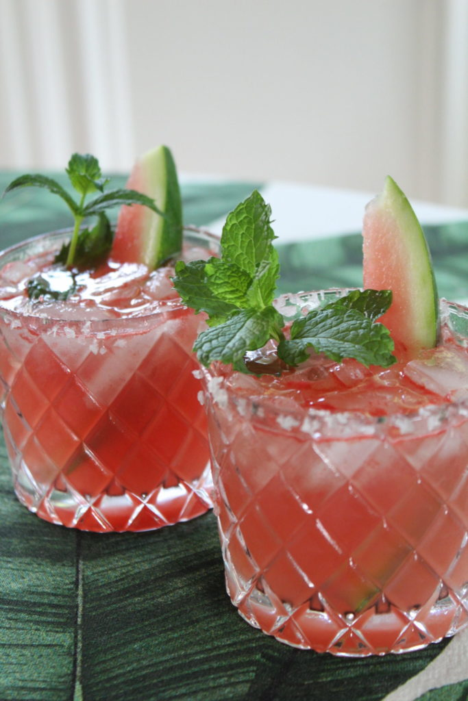 Watermelon margaritas with mint and watermelon garnish