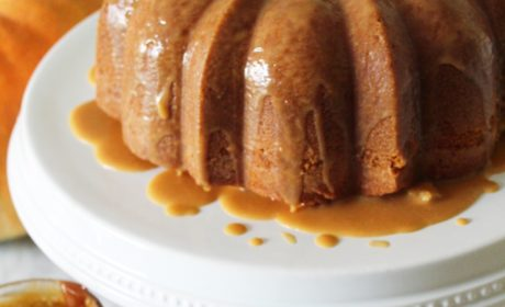Brown Sugar Pound Cake with Salted Caramel Glaze