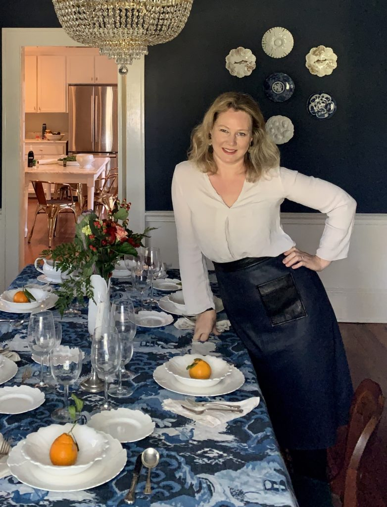 Amanda Gibson of Lemon Baby at her Thanksgiving table