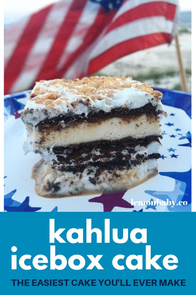 pinterest image of kalhua icebox cake