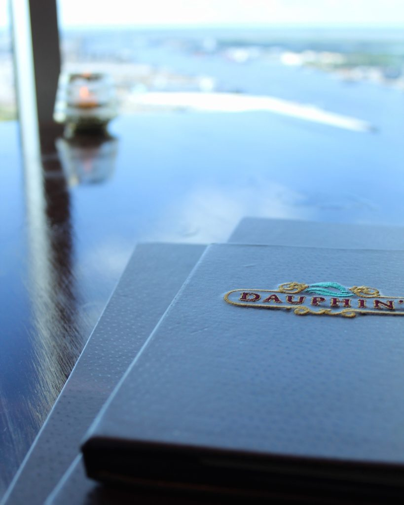 menus on a table with a view