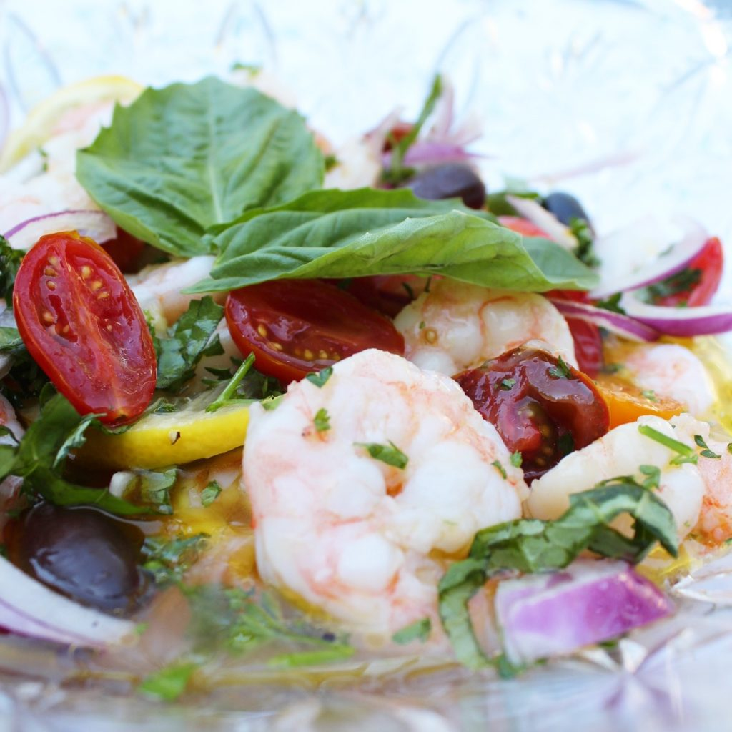 closeup of marinated shrimp