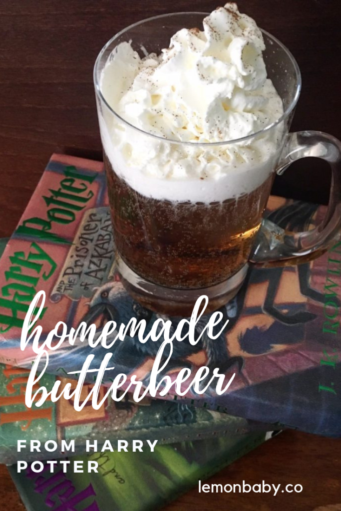 pinterest pin for homemade butterbeer from harry potter