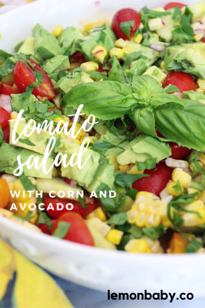 Tomato Salad in a bowl with corn and avocado