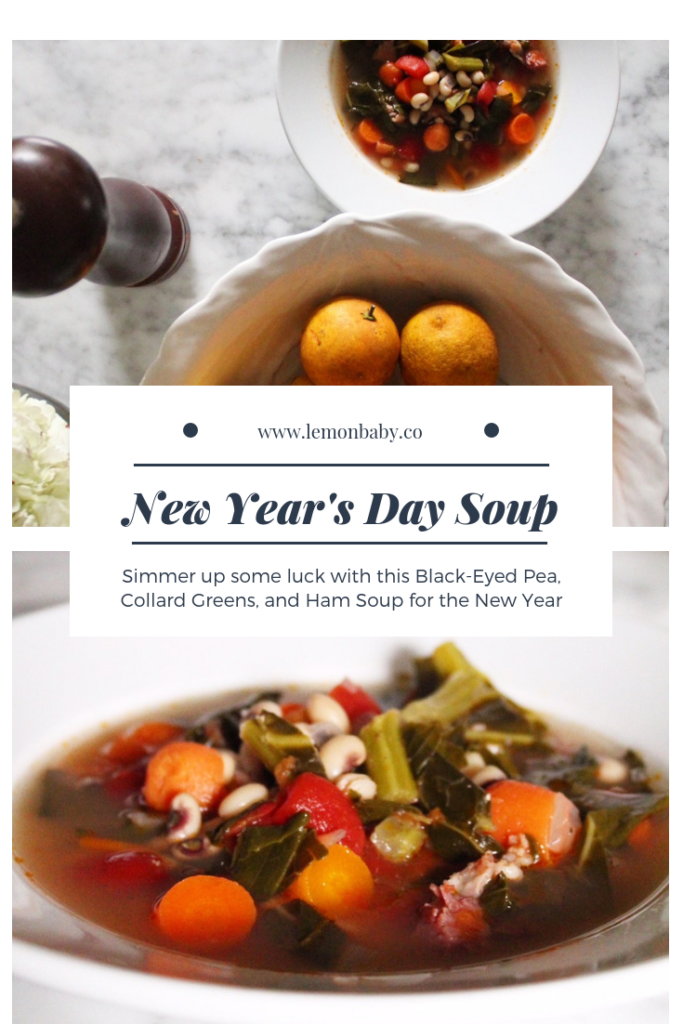 Pinterest Pin for Black Eyed Pea and Ham Soup with Collard Greens
