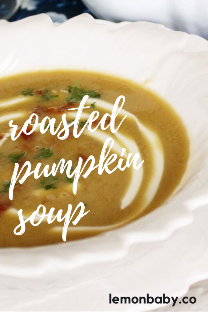 roasted pumpkin soup in a white bowl with text overlay
